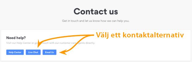 Välj ett kontaktalternativ