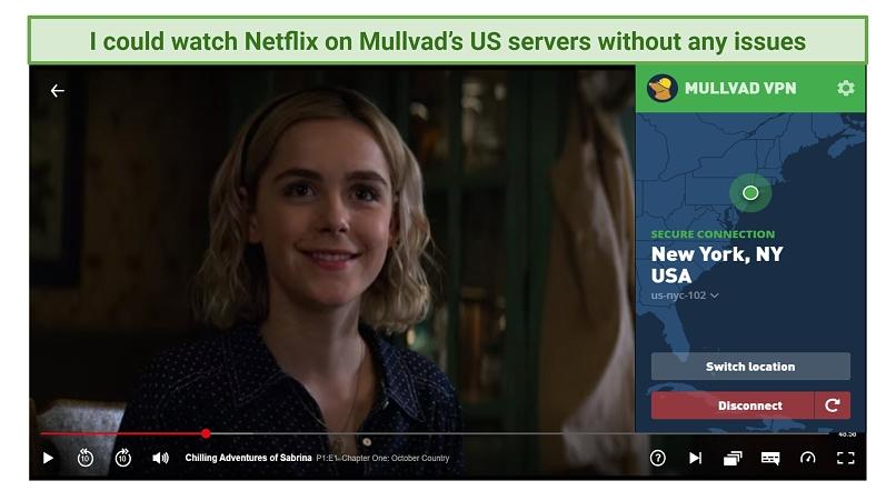Screenshot showing Mullvad VPN unblocking US Netflix