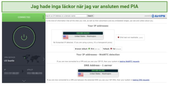 Screenshot of leak tests while using PIA