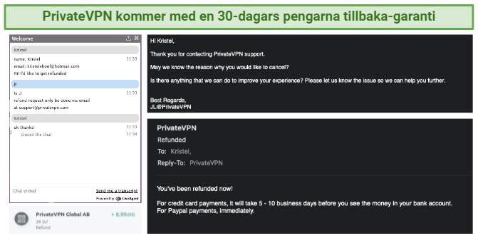 Screenshot of PrivateVPN's refund process